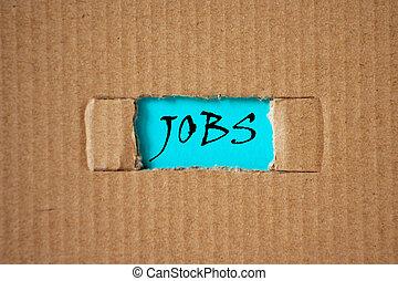 小片, 単語, jobs., 下に, ペーパー, それ, ボール紙, 仕事, 切抜き, 穴