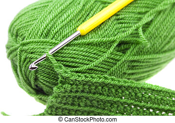 小片, 編まれる, ホック, 隔離された, かせ, 羊毛, 白, かぎ針で編み物をしなさい