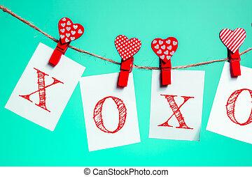 """小片, """"xoxo"""", 心, 言葉, 赤, love., rope., clothespins, 日, アクア色, menthe, ペーパー, バックグラウンド。, mocap, バレンタイン, コピー, space."""