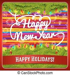 小玩意, greeting., 花冠, 問候, 松樹, 手寫, 蜡燭, 年, 光, 新, 卷發, 裝飾, 卡片
