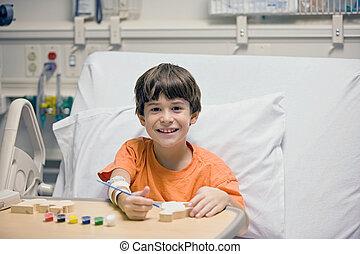 小男孩, 在, 醫院