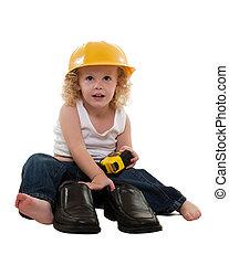 小男孩, 带, 长大, 人, 鞋子