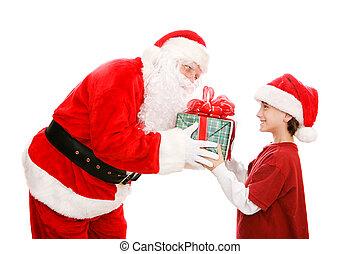 小男孩, 得到, 禮物, 從, 聖誕老人