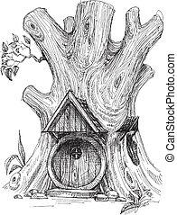 小的房子, 略述, 樹, 窪地