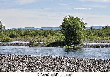 小石だらけである, 川, shores., 北