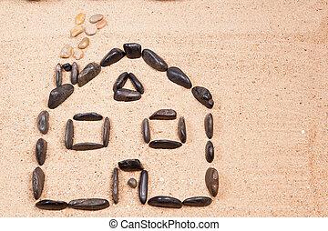 小石, 家, 砂ビーチ, 設計された