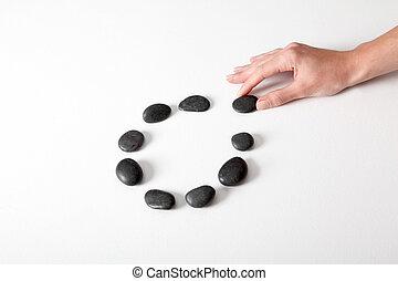 小石, 手, 人間, 手配する, 線, 円