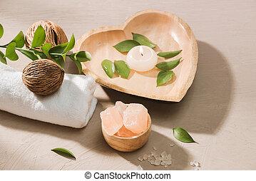 小石, 燃焼, 木製である, エステ, 設定, 背景, water., ろうそく, 塩