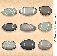 小石, 砂, 背景, コレクション, 海