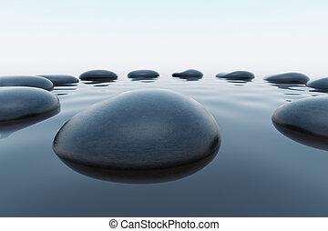 小石, water.