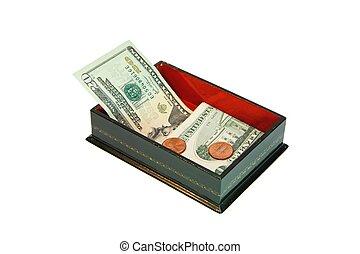 小箱, アメリカ, お金, 隔離された, 長方形, 緑