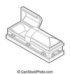 小箱, 線である, 開いた, 木製である, burial., hearse., イラスト, style., 宗教, 棺, 赤