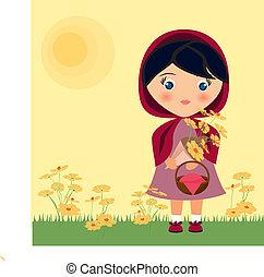 小紅色騎馬胡德, 由于, 花