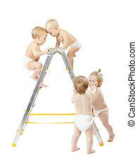 小組 嬰孩, 攀登, 上, stepladder, 以及, 戰斗, 為, 首先安置, 在上方, 白色, 背景。, 競爭,...