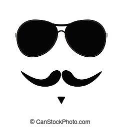 小胡子, 矢量, 二, 插圖, 臉