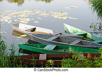小船, 上, the, 河