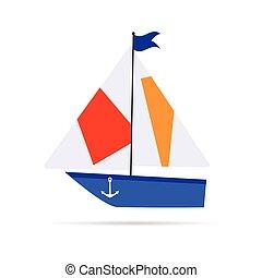 小船, 卡通, 插圖, 圖象