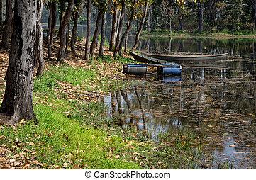 小船, 夏天, 湖