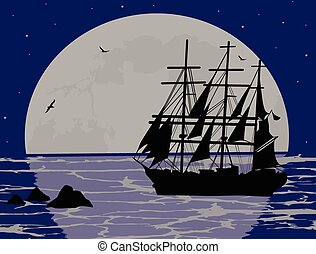 小船, 浮動, 上, the, 海洋