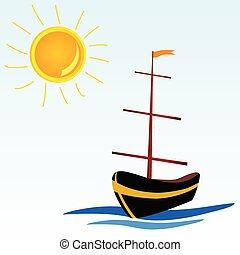 小船, 矢量, 海, 插圖, 圖象