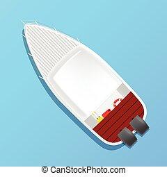小船, 矢量, 馬達, 二, 插圖
