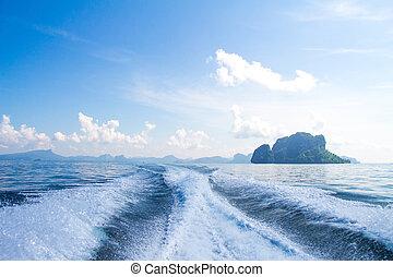 小船, 醒, 支柱, 洗滌, 上, 藍色的海洋, 海, 在, 陽光充足的日