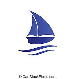 小船, icon., 矢量, 插圖