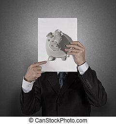 小豚, ビジネス男, 創造的, 銀行, 概念