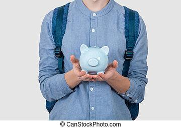 小豚, 保有物, 銀行, 白, ティーネージャー, 上に, 男の子, バックグラウンド。