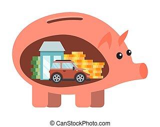小豚, 計画, future., 節約, を除けば, ベクトル, holidays., お金, セービング, illustration., 経済, 新しい車, 家, 計画, 夢, 財政, 銀行, 幸せ