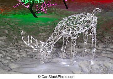 小雕像, 鹿, 聖誕節, 閃耀