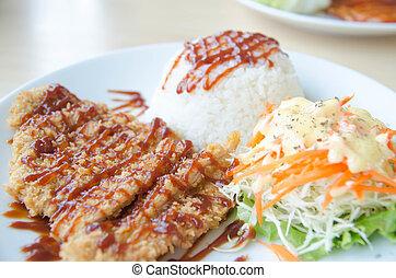 小雞油煎的稻米