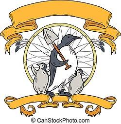小鸡, 企鹅, 铁锨, 图, dreamcatcher