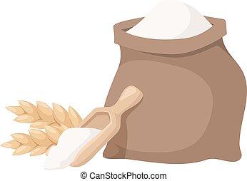 小麦粉, ベクトル, illustration., 袋