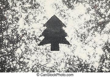 小麦粉, 上, 木, クリスマス, 光景