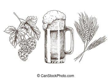 小麦, ホツプ, ガラス, ビール, グロッシー, 泡だらけ, ゴブレット