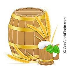 小麦, 原料, ホツプ, イラスト, ビール, ベクトル, 作成