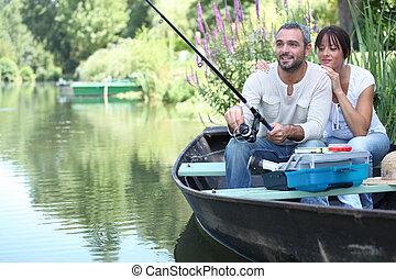 小, 夫婦, 河捕魚, 小船