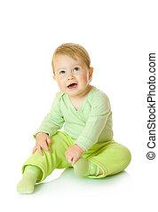 小, 微笑婴儿, 在中, 绿色