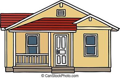 小, 房子, 黃色