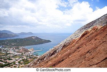 小, 村莊, 在下面, 火山, lipari, 西西里島, italy