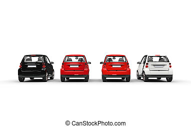 小, 汽車, 行, 後面 看法