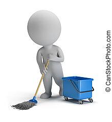 小, 清扫, 3d, -, 人们