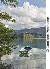 小, 游艇, 停泊, 上, 湖, 流血, slovenia.