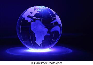 小, 玻璃球体, 是, 照明, 所作, 藍色的燈, 從, 下面, 在, dark;, 北方, 以及, 南美洲