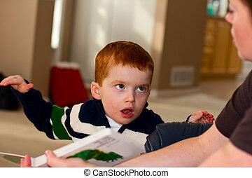 小, 男孩, 是, 閱讀, a, 書