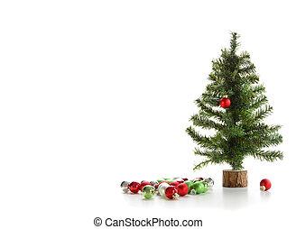 小, 白色, 樹, 裝飾品