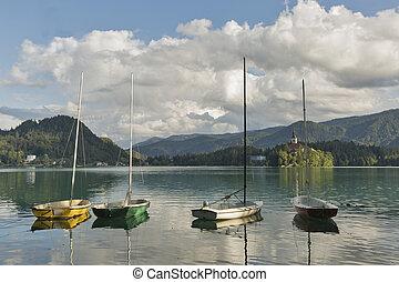 小, 航行, 游艇, 停泊, 上, 湖, 流血, slovenia.