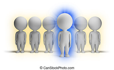 小, -, 3d, 靛藍, 人們