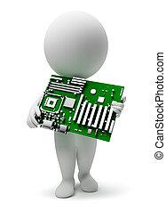 小, motherboard, 3d, -, 人们